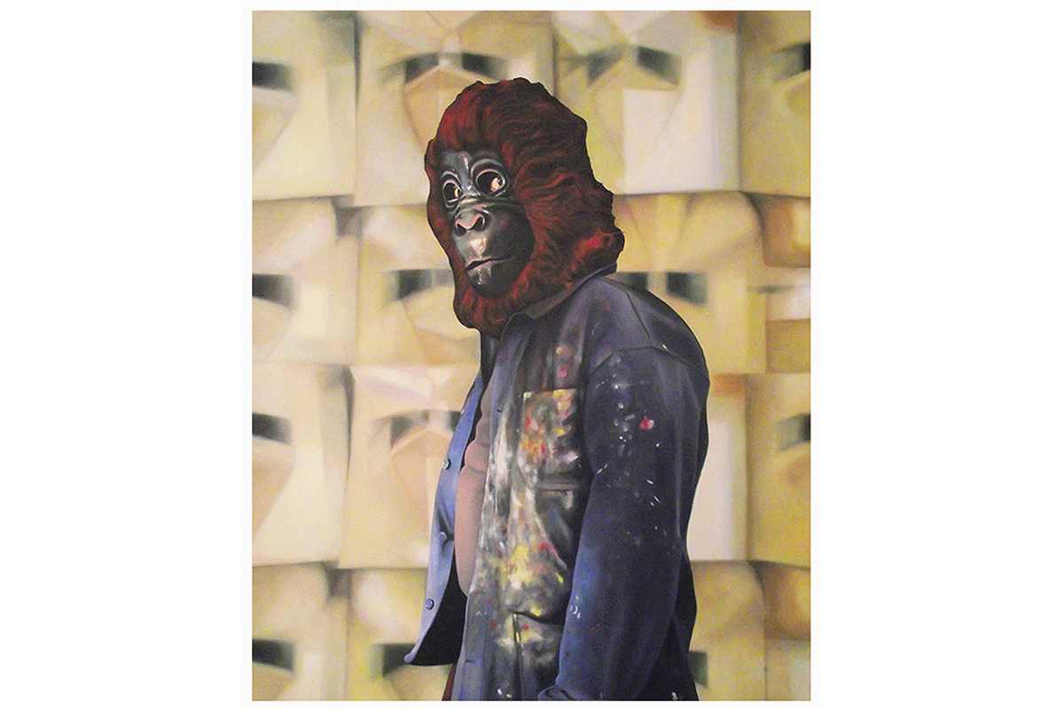 Selfportrait With Mask, Oil On Canvas, 63 × 51 Inches, 2013.