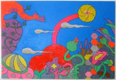 Aska Irie. 2013. Mixed media on canvas. 58 x 40 inches