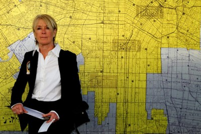 Suzanne Lacy with the Rape Map at LAPD headquarters, January 2012. Photo: Neda Moridpour