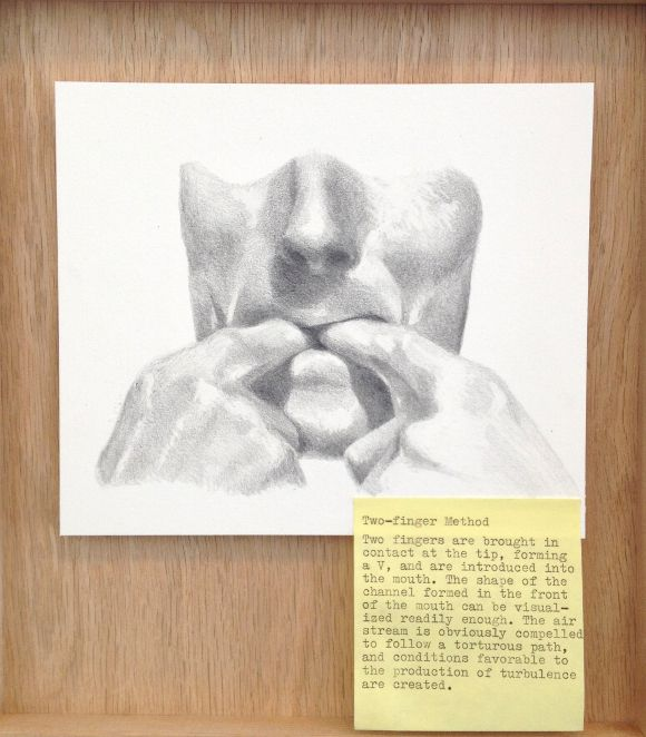 Notes after G. M. Cowan 1, 2012. Gala Porras-Kim. Graphite on paper, post it, wood. | Photo: Courtesy of the artist.