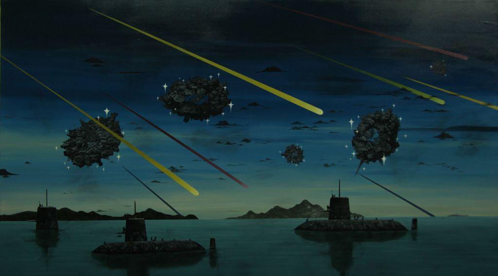 """""""The cloud of doughnut and black submarine,"""" 2012, acrylic on canvas, 162 x 97 cm"""
