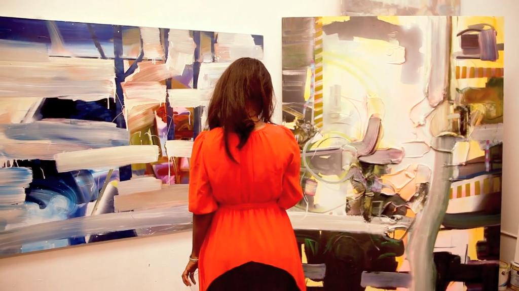 2015 Spring Champagne Social, guest in Yvette Gellis' studio, photo by Carla Sendino