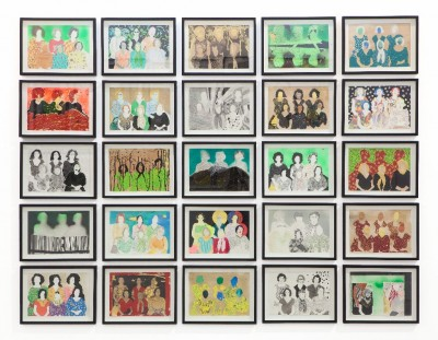 Main image, Elham Rokni, Khalili sisters (installation view), 2013-ongoing, 8x12 inches each, mixed media on paper.  Courtesy of Liat Elbling, photographer