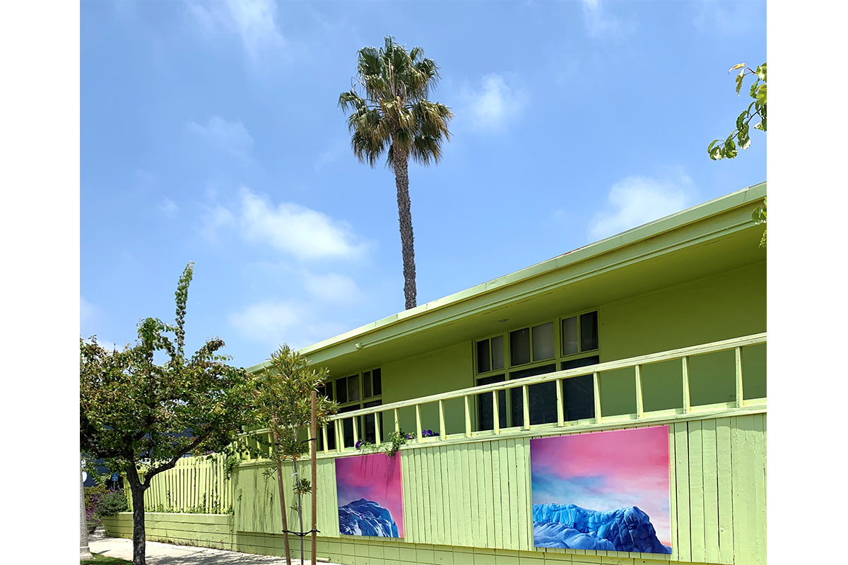 "Luciana Abait, Peaks I and Peaks II, 2020. 50"" x 70"" each. Acrylic painting on the outdoor surface. Installation in front of lime green building at 18th Street Arts Center, Santa Monica. Part of the exhibition ""We are Here/Here we Are"" presented by Durden and Ray Gallery, Los Angeles. Courtesy of the artist."