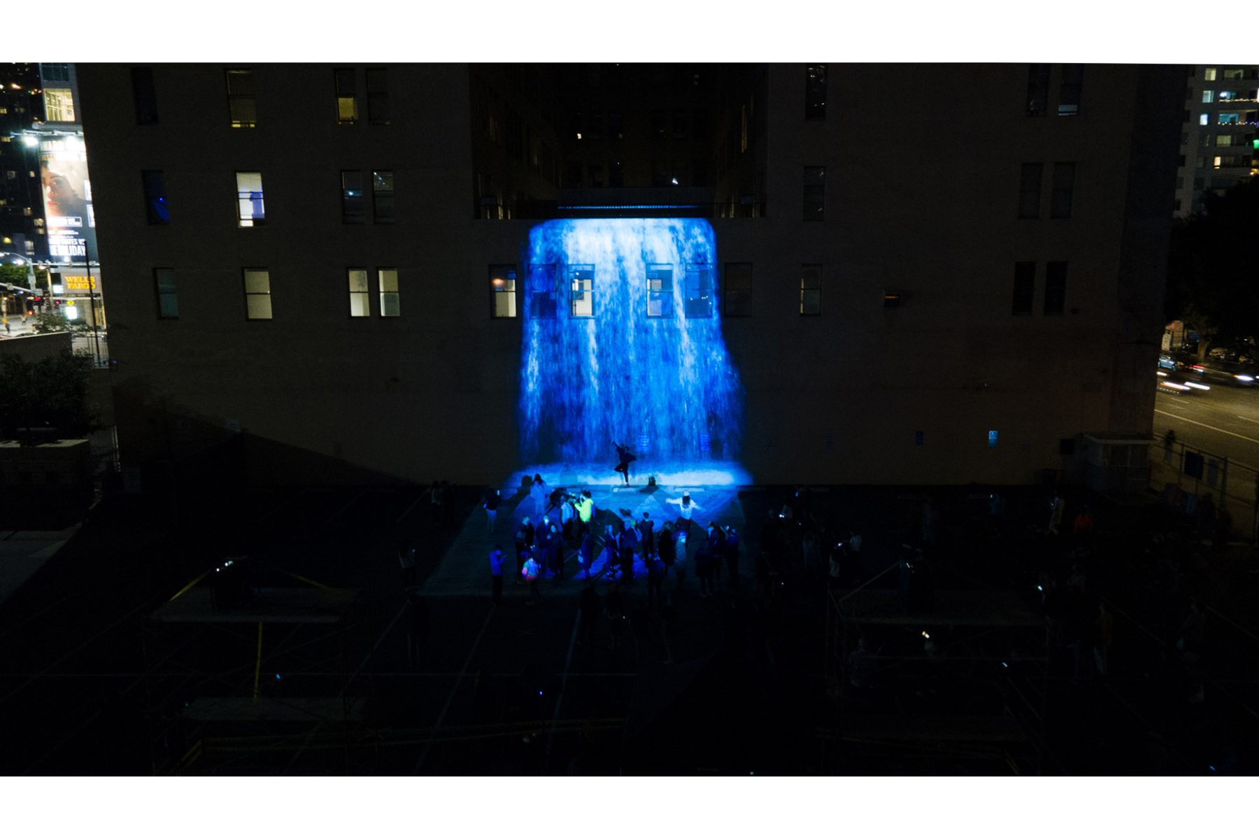 Luciana Abait, Agua, 2021. 31 feet high x 37 feet wide. Site specific video projection. Installation view at Petroleum Securities Building, Downtown Los Angeles, LUMINEX. Courtesy of the artist.