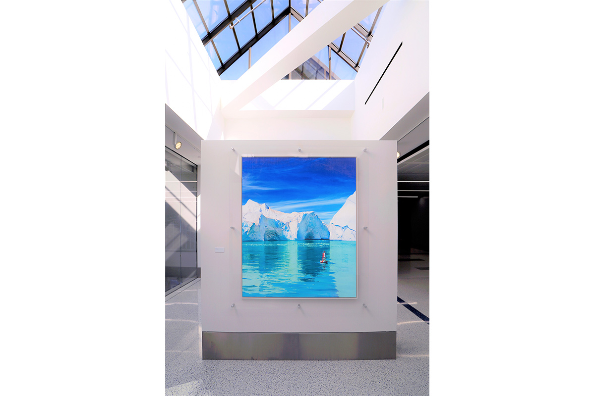 "Luciana Abait, Buoy, 2019/2020. 60"" x 50"". Mixed media on wood panel. Installation view of Luciana Abait's solo exhibition ""A Letter to the Future"" at Los Angeles International Airport, Terminal 7. Courtesy of the artist."
