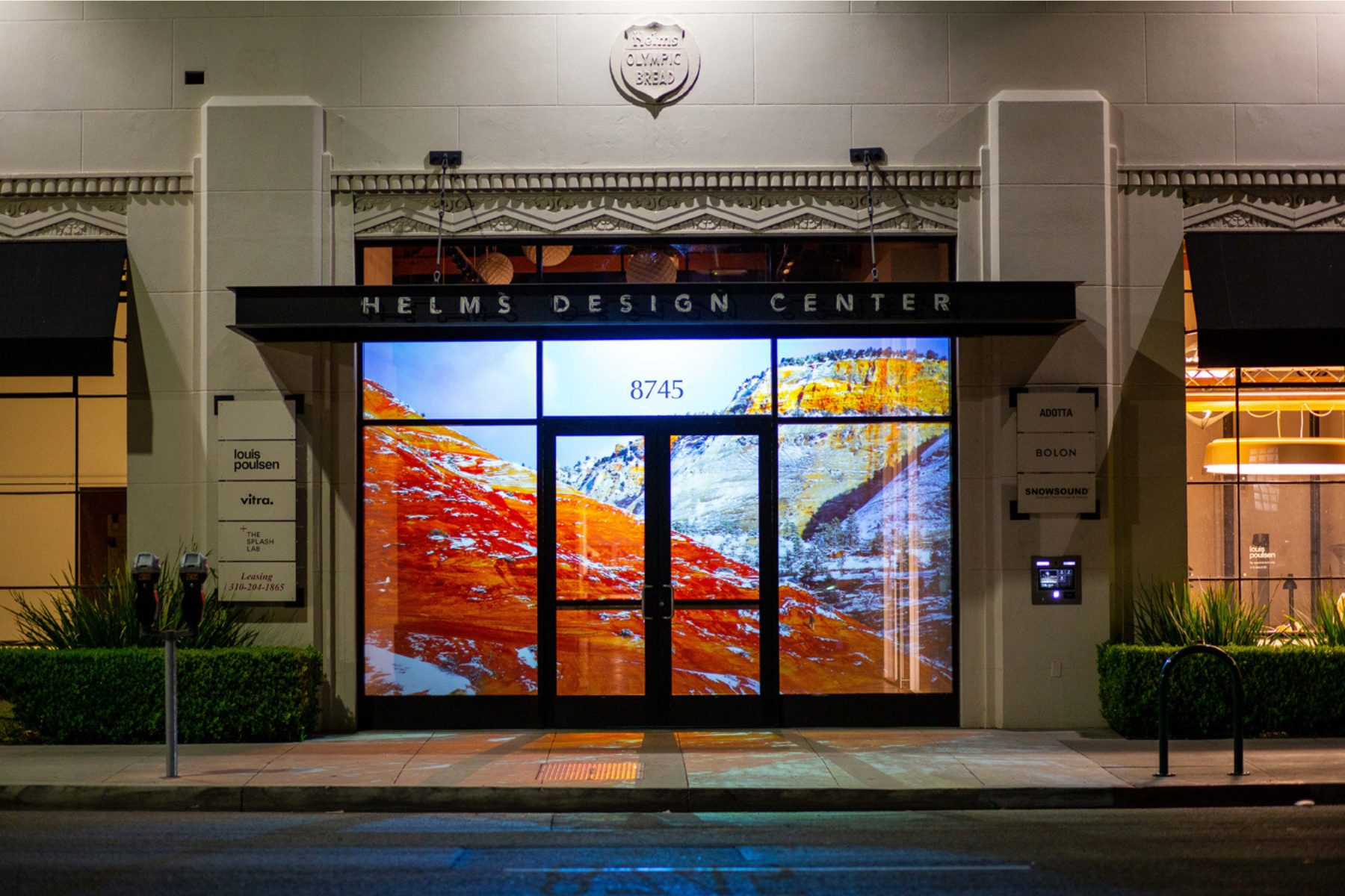 Luciana Abait, Road Trip, 2021. Video Projection of Possibilities Series. Installation view at Helms Design Center, Culver City, California. Courtesy of the artist.