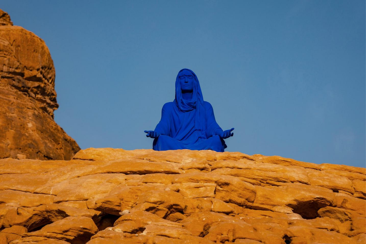 Lita Albuquerque, NAJMA (She Placed One Thousand Suns Over The Transparent Overlays Of Space), 2020. Pigment, Aluminum. AlUla, Saudi Arabia. Photo By Lance Gerber. Courtesy Of The Artist.