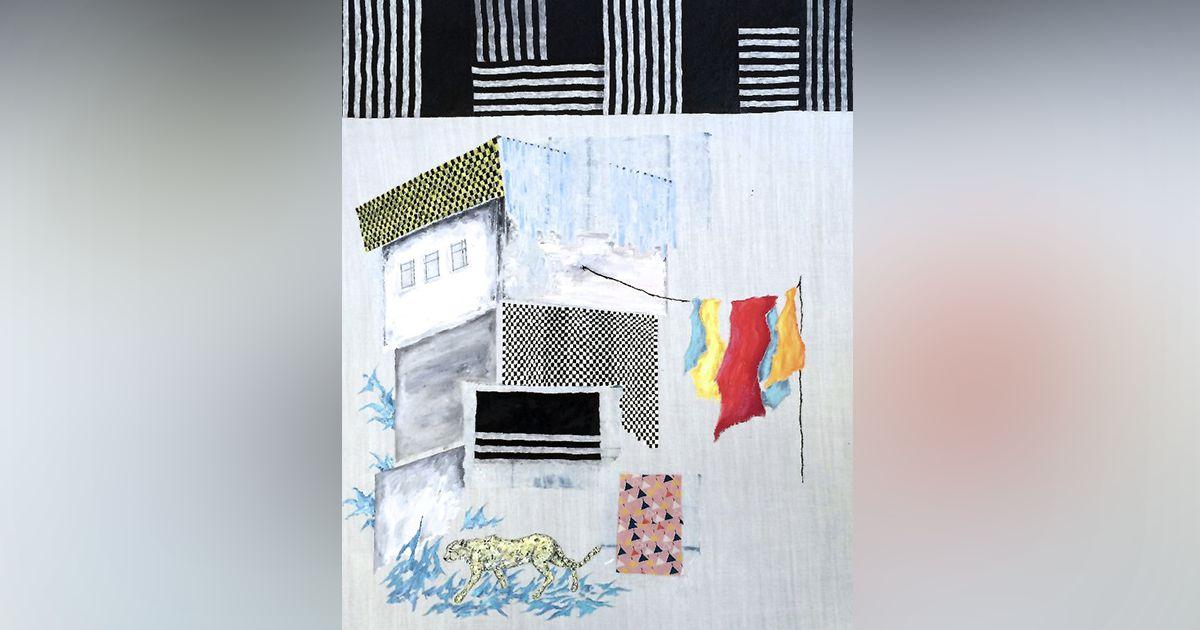 Bibi Katholm: Micro Castle # Westwood Vs Harmony, 2014, 80 X 100 Cm, Mix Media Collage Incl. Fabrics, Acrylic And Gouache On Canvas.