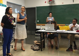 Simultaneous translation provided by Antena Collective at the Cultural Asset Mapping meeting, July 5, 2016.