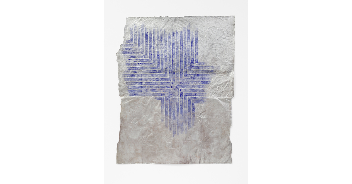 Alexandra Hopf, Lumpenstella #02, 2014, 122 x 100 cm, Aluminum Powder, Gouache On Paper