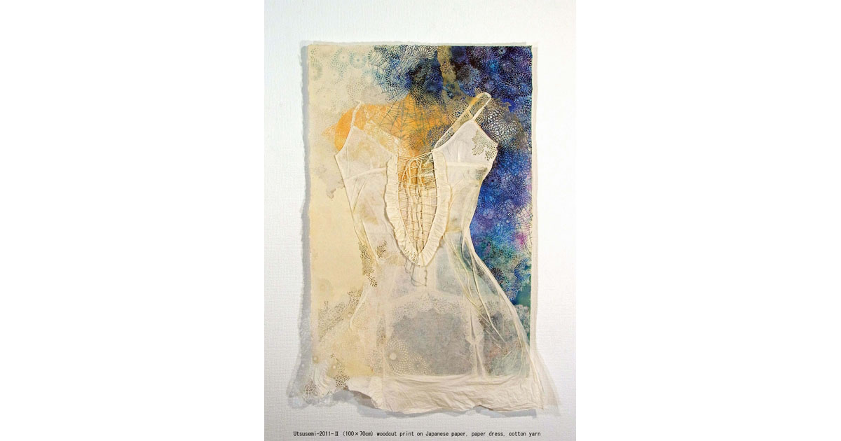 Utusemi 2, 2011. Woodcut Print (100x68cm), Japanese Paper, Paper Dress, Cotton, Yarn.
