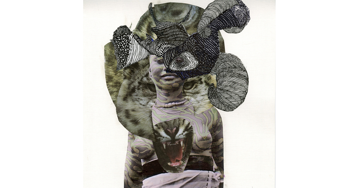 Kenyatta A. C. Hinkle, The Huntress, 2014, India Ink And Collage On Cotton Paper, 12 X 12 In, Photo By Artist.