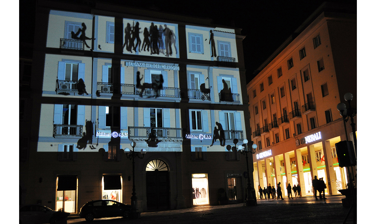 Elisa Laraia, Private Conversation, Urban Screen Project, 2011. Potenza, Basilicata, LAP Project.