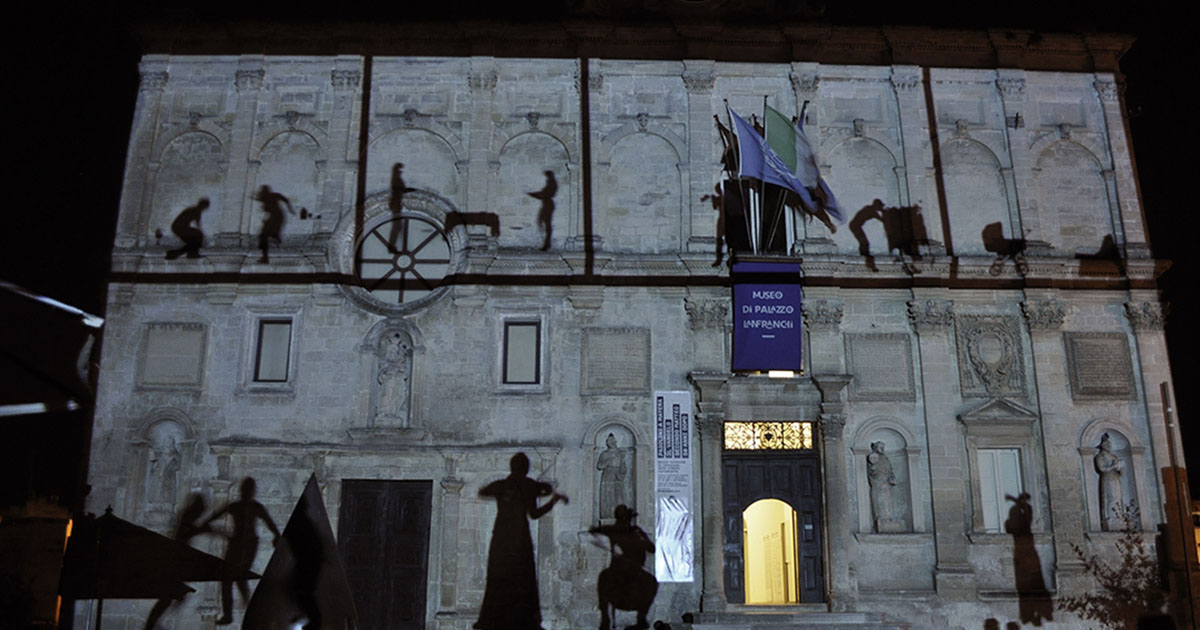 Elisa Laraia, Private Conversation, Urban Screen Project, 2014. Matera, Palazzo Lanfranchi, Basilicata. LAP Project.