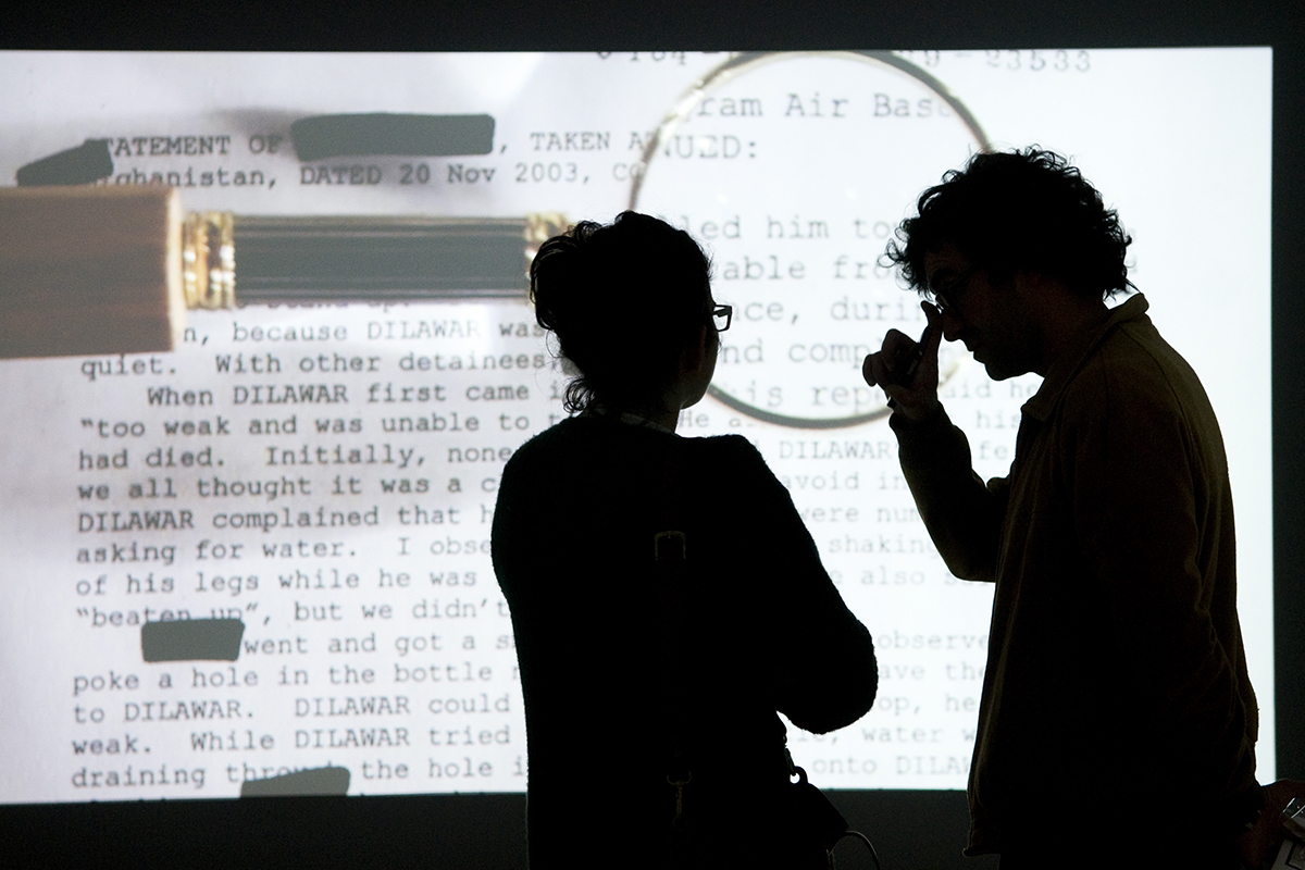 Mariam Ghani, The Trespassers (1 Channel Video, 4 Channel Audio Installation With Archive), Installed At The KMK In San Sebastian, Spain, For The Exhibition El Biblioteca Y El Saber In 2014. Photo By Piedad Solans.