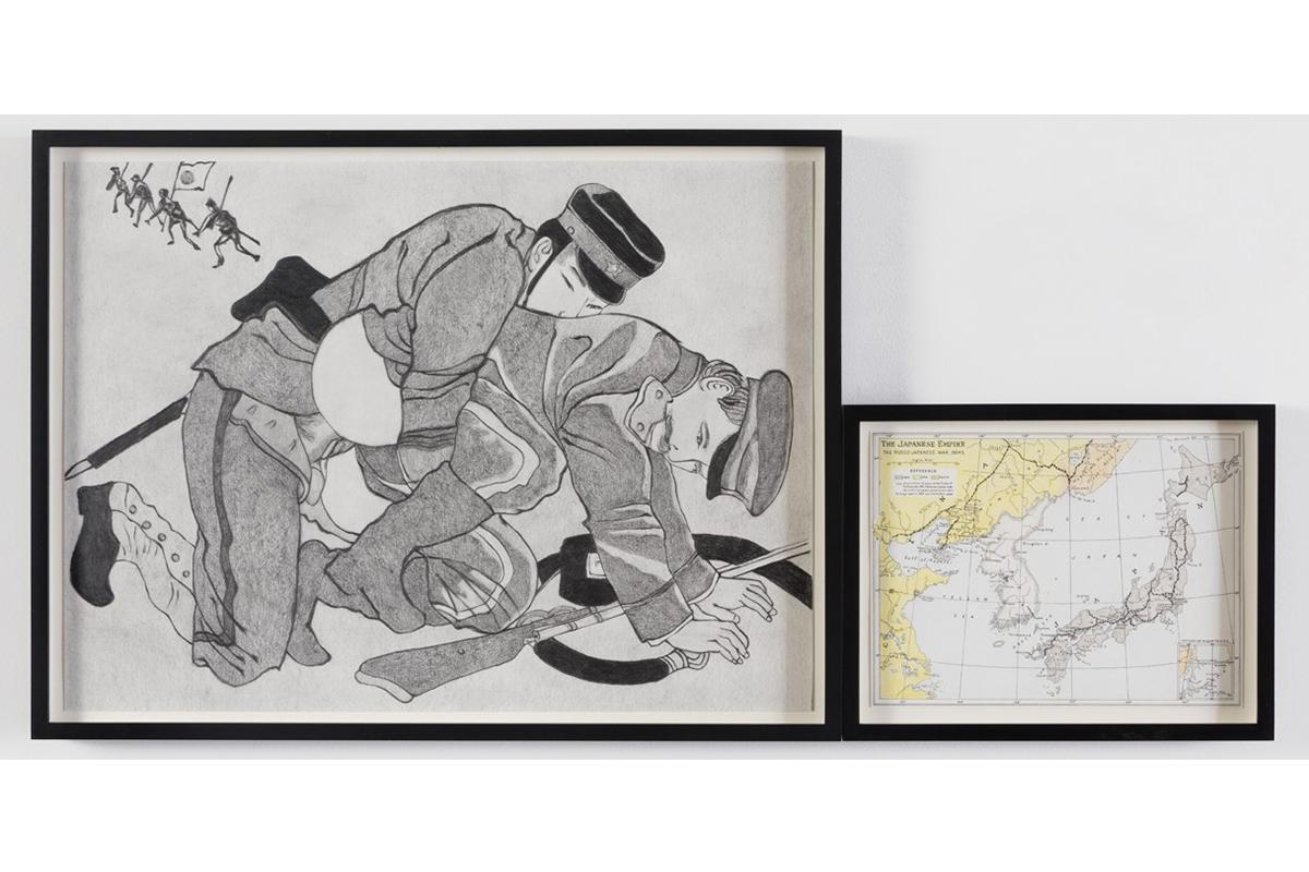 "1905, Japan Defeats Russia, Empire, Graphite And Colored Pencil On Paper, 16.06"" X 21.875"" (left), 8.25"" X 10.75"" (right), 2015. Photo Credit: Josh White."