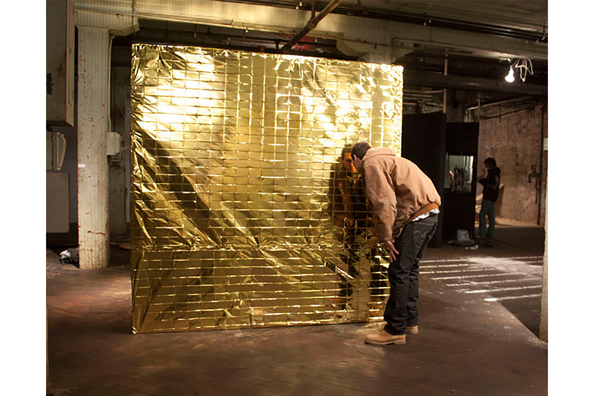 Aleksandra Wałaszek, '350.20 Cubic Feet Of Warmth', Installation, Space Blankets (thermal Foil Blankets), Wood, 350.20 Ft³, 2010