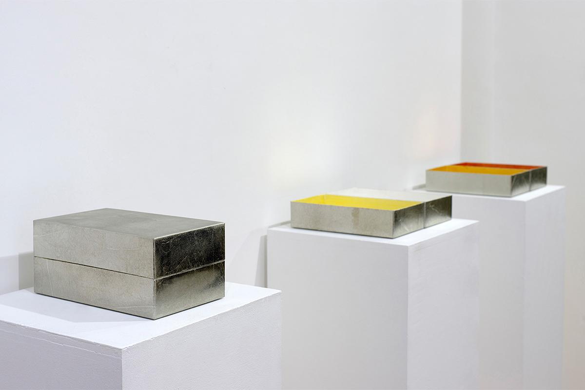 Miyuki Yokomizo, 'Box#1, #2, #3', tin leaf, silver leaf, copper leaf, brass leaf, paper box, 10.5 × 19.0 × 8 cm, each: 10.5 × 19.0 × 4 cm