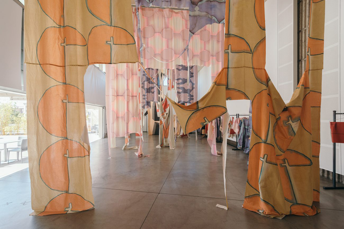 Place On-Fold, Muslin Fabric, Part Of The California Pacific Triennial At The Orange County Museum Of Art, 2017.
