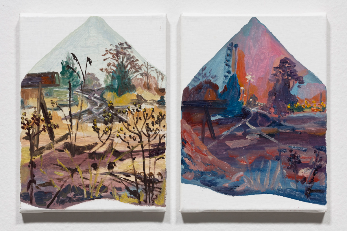 Hyein Lee, The Second Life_ The Small Garden House Plants In Berlin Series, 2013 (L)Berlin Betriebsbf Schöneweide, Cloudy, 08.01.13. 15:00~16:00, 30x24 Cm, Oil On Canvas. Photo By Kwon O-yeol. (R)Berlin Betriebsbf Schöneweide, Cloudy, 08.01.13. 16:00~17:00, 30x24 Cm, Oil On Canvas. Photo By Kwon O-yeol.