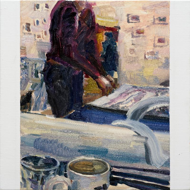 Hyein Lee, Facetime HD Series, 2017 2. 24. 10:00-12:30(Seoul) / 2017. 2. 23. 17:00-19:30(LA), 45.4x37.9cm, Oil On Canvas.