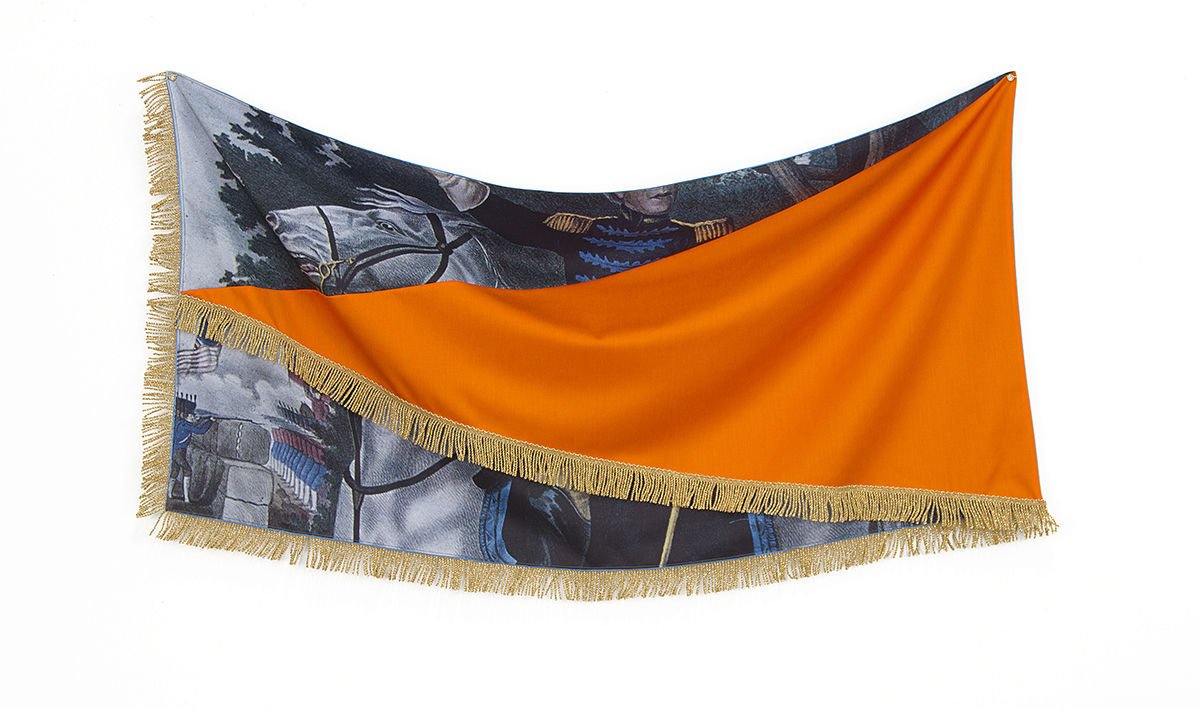 Flag For Generals, 2013; Polyester, Wool Suiting, Satin, Fringe; 27 X 46 In.