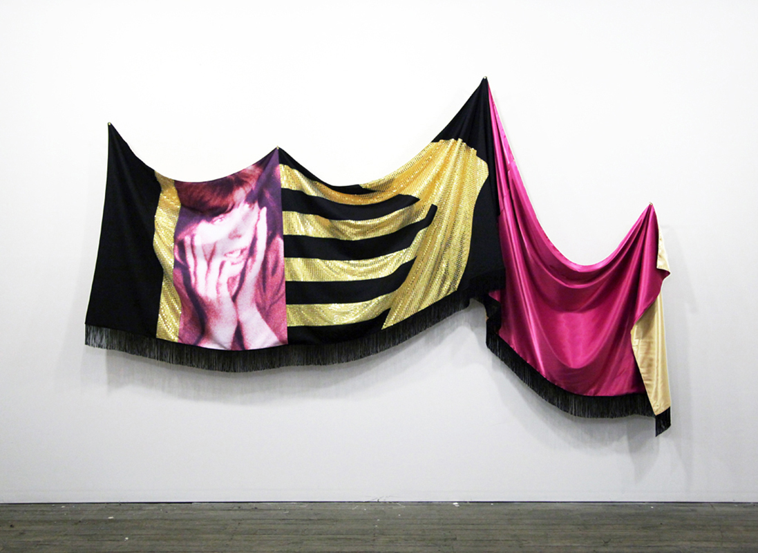 Flag For Disasters, 2014; Polyester, Wool Suiting, Lycra, Satin, Fringe; 80 X 158.5 In.