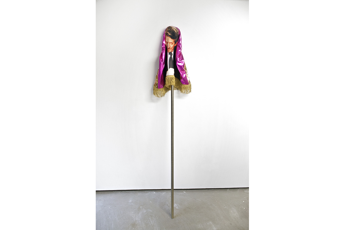 The Former King, 2017; Polyester, Lycra, Cotton, Fringe, Metal Pole; 79.5 X 13 X 9 In. Photo: Dan Gilsdorf.