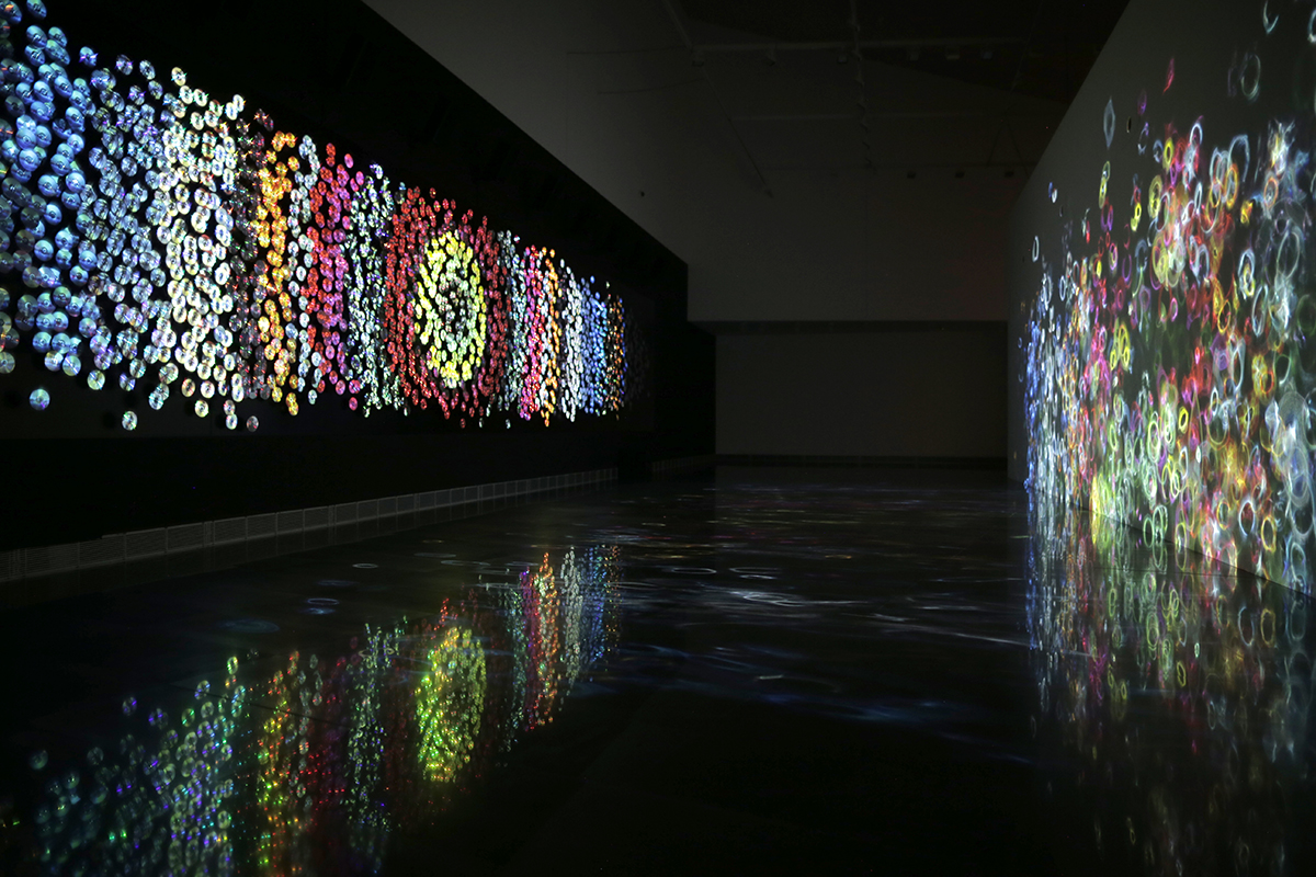 Daniel Canogar, Sikka Ingentium, 2017, 2400 DVDs, 5 Projectors, 12 Speakers, Amplifier, 35 Min, Video Loop. Photo By Sofía Montenegro. Courtesy Of The Collection University Museum Of Navarra, Pamplona, Spain.