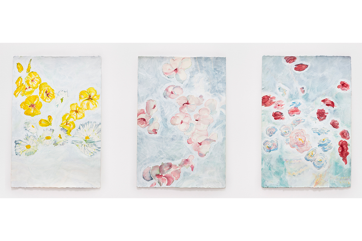 "Jeff Beall, Three Things I'm Thinking About Now, 2018, 15"" x 22"" each, acrylic on found watercolor paintings on paper. Courtesy of the artist."