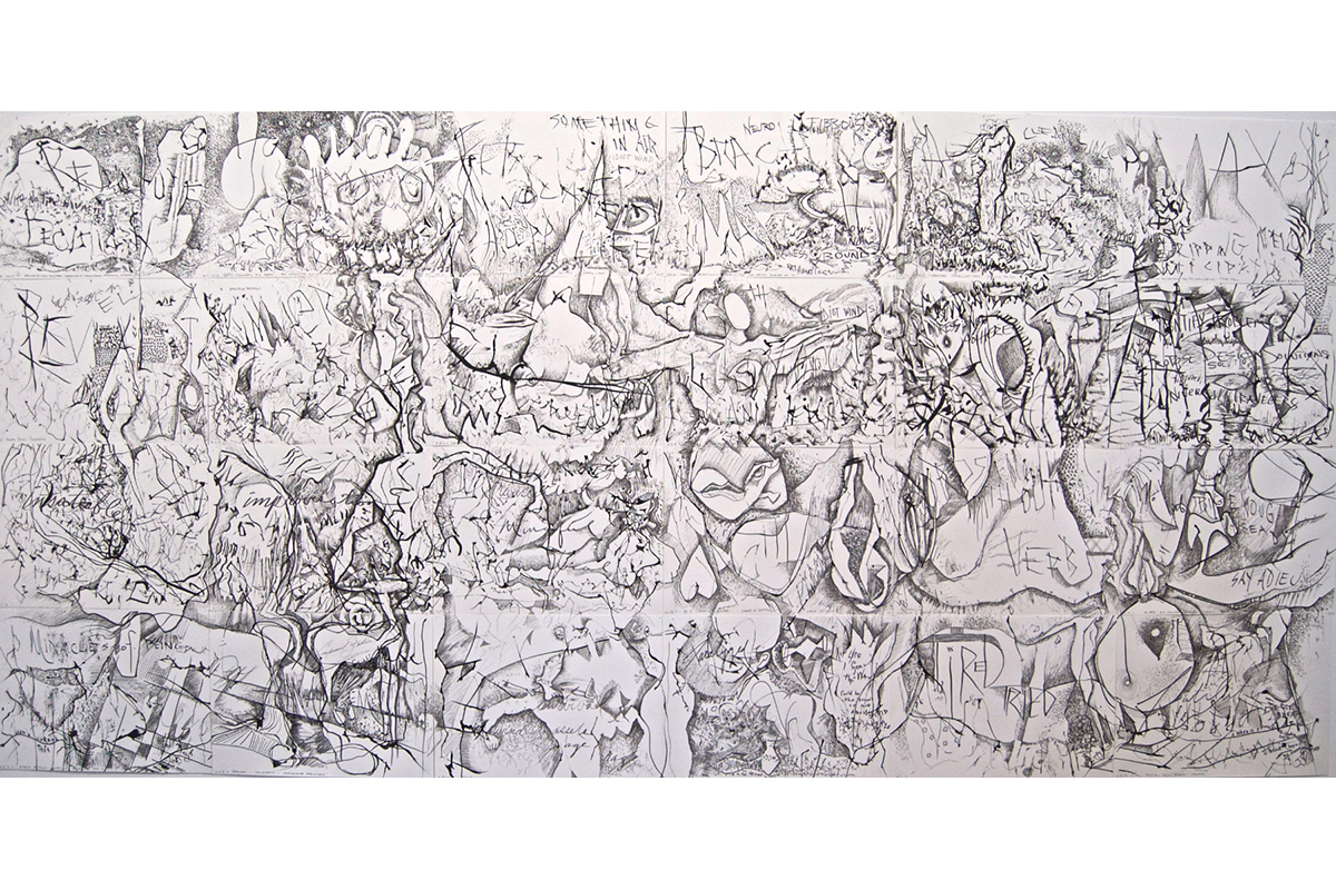 "Paul Harryn, California Dreamin', 2016, 44""H X 90""W, Ink On Paper, A Series Of Twenty Four Drawings Assembled As An Installation At 18th Street Arts Center."