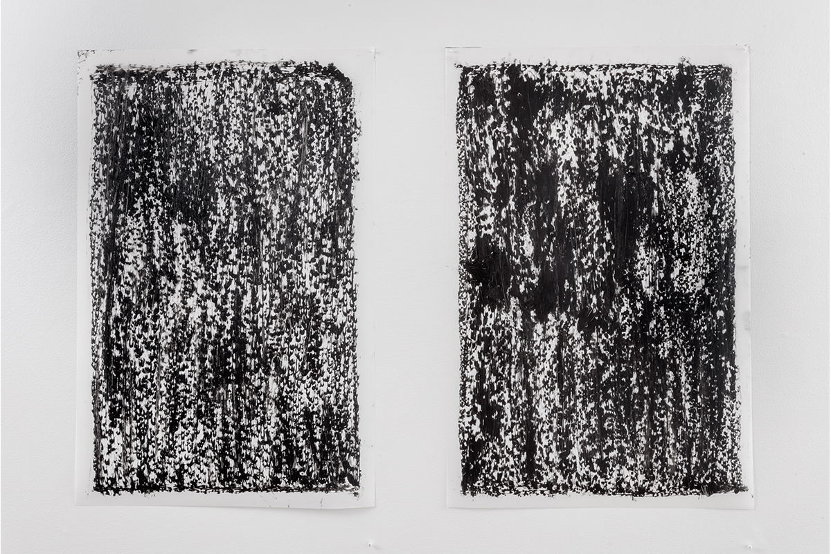 "Jeff Beall, Unsolved Sites 6 & 7, 2017, 23"" x 35"" each, Oilstick rubbings on Polypropylene."