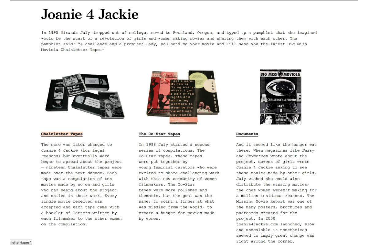 Miranda July with contributions from Astria Suparak, Joanie 4 Jackie Archive Screenshot, 2013. Photo by Astria Suparak. Courtesy of Astria Suparak.