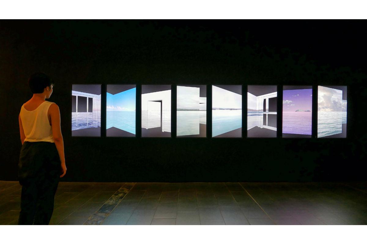 Poyen Wang, Saudade, 2016, Dimensions vary, Eight Screens, Digital videos (color, 4 minutes/loop). Photo by Poyen Wang. Courtesy of Poyen Wang.