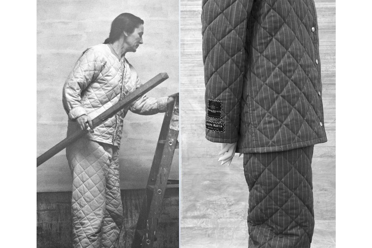 Alexandra Hopf, Agnes Martin Bespoke Workwear, 2017, reversible suit, silver lining and pinstripe. Photo by Alexandra Hopf. Courtesy of Alexandra Hopf.