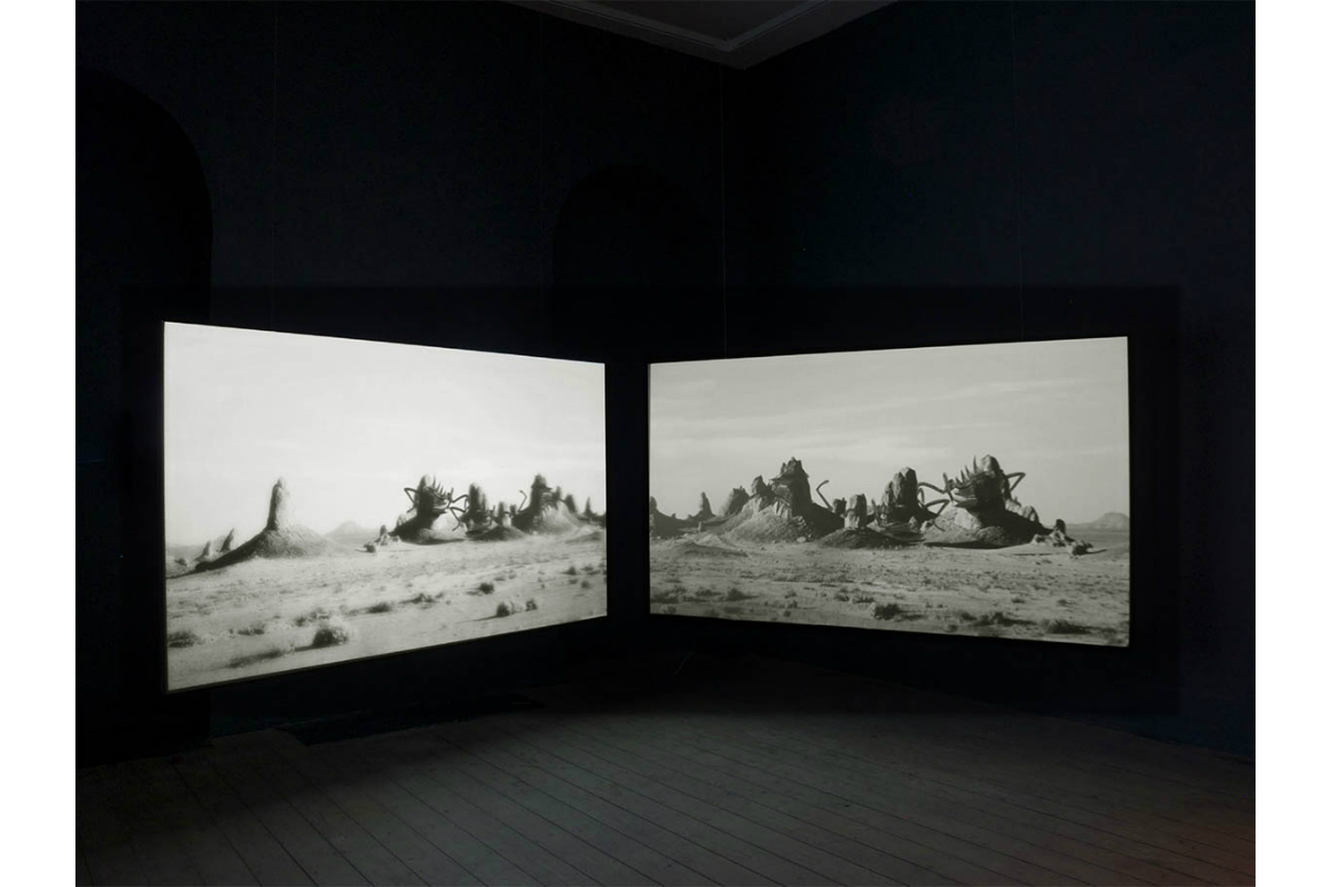 Alexandra Hopf, Exhibition view: Giacometti in the Desert, 2016/17, HD-DV 2 channel, 00:16:39 min and stereo sound, Sligo, Ireland. Photo by Alexandra Hopf. Courtesy of Alexandra Hopf.