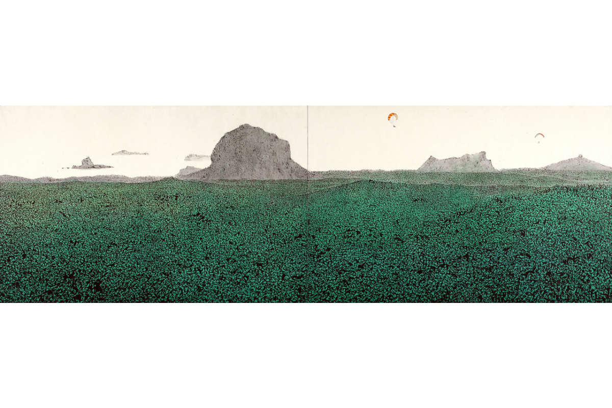 Chuni Park, Landscape Of Jeju, 2011, 125 X 384 Cm, Muk Ink & Acrylic On Hanji Paper. Photo By Chuni Park. Courtesy Of Chuni Park.