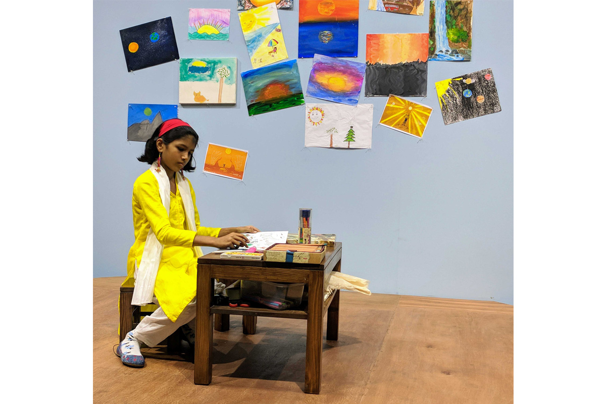 Neha Choksi, Every Kind of Sun, 2018, live performance daily, each featuring a child and an adult professional over 9 days, presented at the Dhaka Art Summit.