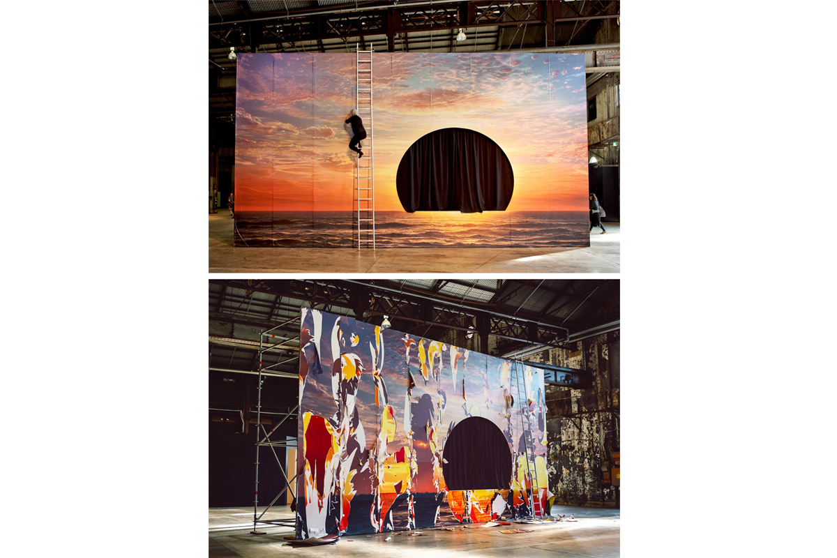 Neha Choksi, The Sun's Rehearsal / In Memory of the Last Sunset, 2016, one image on wallpaper digitally generated by OmniCosm Studios (Hollywood); seven photographically generated images on wallpaper underneath; freestanding wall with cutout; curtain; activated by performance and interaction in a collaboration with dance artist Alice Cummins. Installation at Carriageworks, Sydney. Photos: Neha Choksi (top); Document Photography (below).