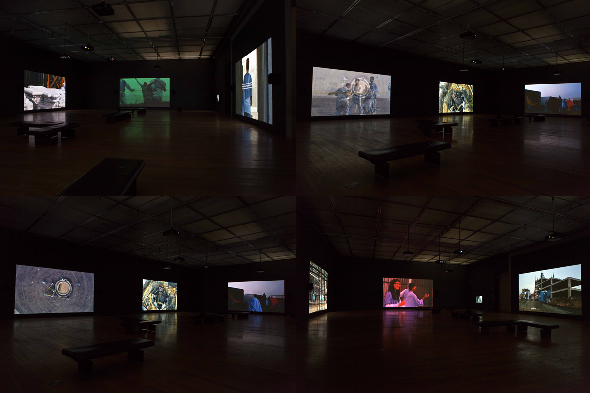 Neha Choksi, Faith In friction, 2017, 7-channel video installation, each channel with stereo sound, 36 minutes loop. Installation view, September 30, 2017 – February 25, 2018, Manchester Art Gallery, UK