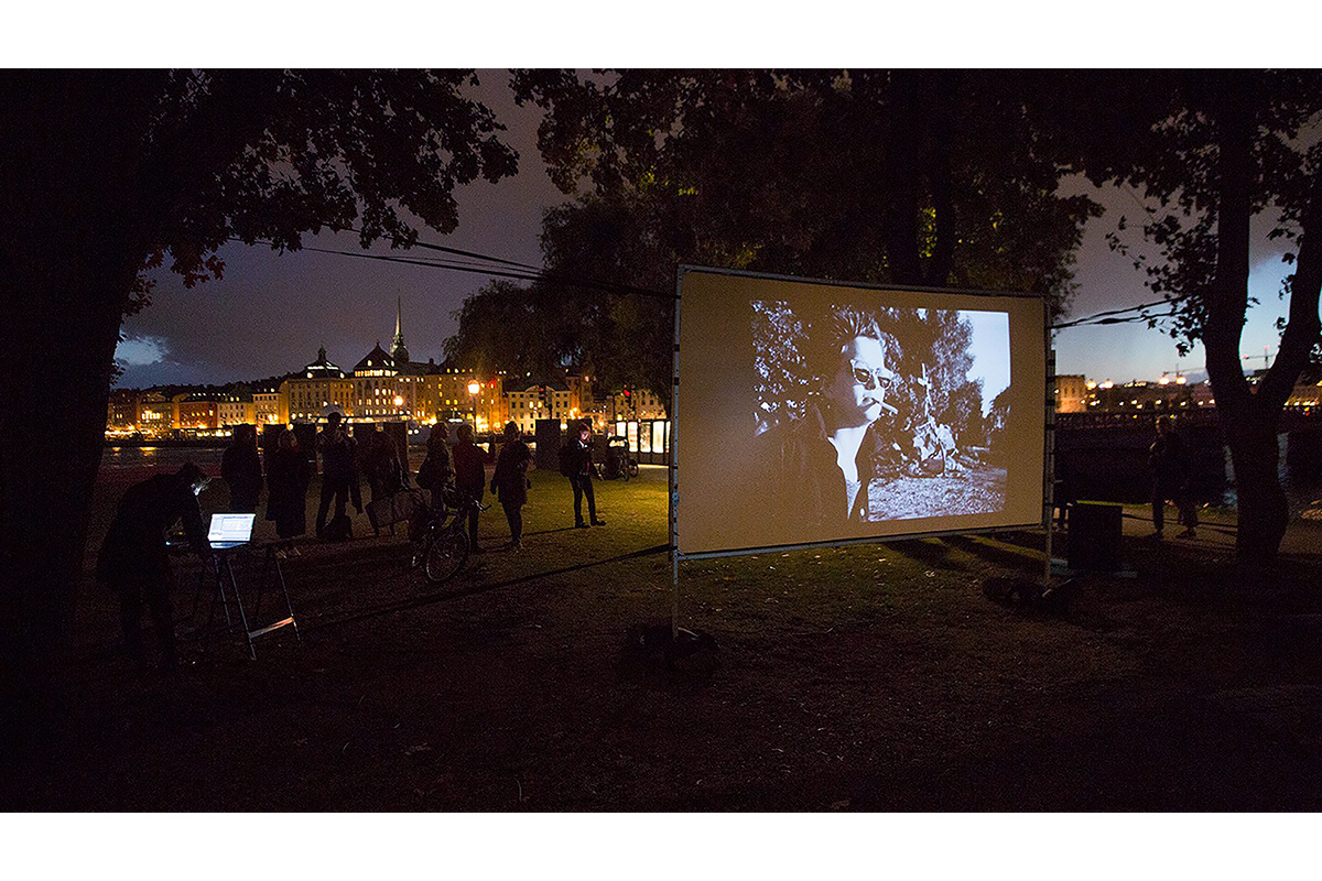 Karlsson Rixon, Crucifixion of the female martyrdom (re-visit), 1987/2016, outdoor screening with live music by Tsomak Oga. Photo by Karlsson Rixon. Courtesy of the artist.