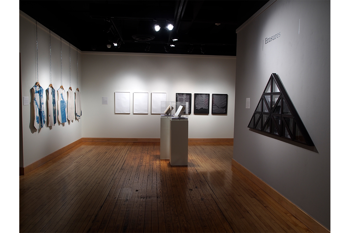 Curated By Erin Fletcher And Ashley Biser, What We Make, 2018, Installation View, From Left, Works By Andrew Wilson (Hanging Fruit, 2015-16) Bethany Collins (The Birmingham News, 1963, 2017) Hank Willis Thomas (Delta, 2014), Erasures Gallery, Ross Art Museum. Courtesy Of Erin Fletcher And Ashley Bier.