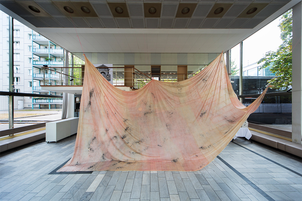 Stephanie Keitz, Babette, 2018. Approx. 700x400 Cm. Rubber, Pigment. Installation View Of FINAL HISTORY! At Kosmetiksalon Babette, Berlin. Photo By Birgit Kaulfuß. Courtesy Of The Artist.