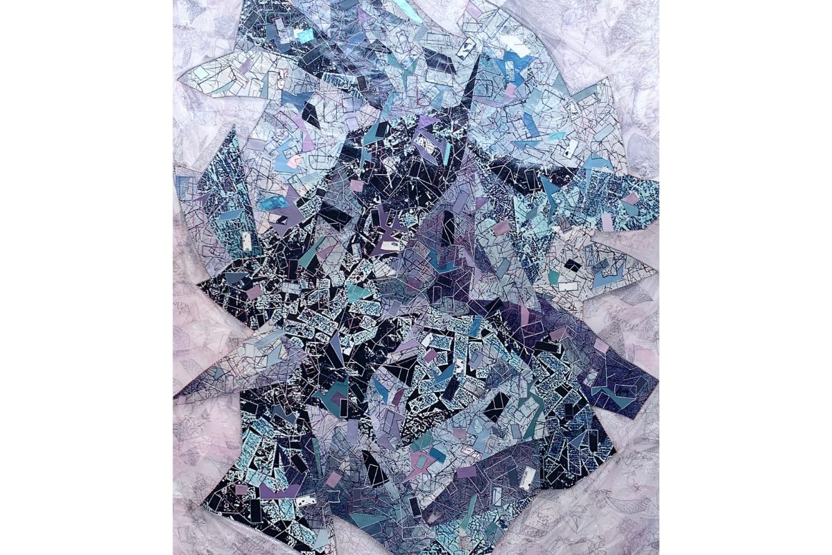 "Deborah Lynn Irmas, Send it thru Krishna, 2020. 75.5"" x 95"". Photo collage, twine, acrylic, foil, metallic paint, poster paper and Japanese paper with digital print. Courtesy of the artist."