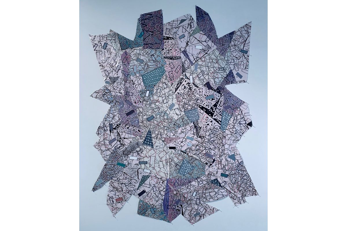 """Deborah Lynn Irmas, Hymns to the Silence, 2020-21. 60"""" x 80"""". Photo collage, twine, yam, acrylic, metallic paint, poster paper with digital print. Courtesy of the artist."""