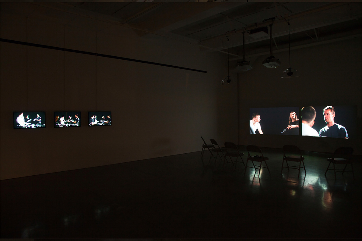 Damir Avdagic, Reenactment/Process, 2016. Variable dimensions. Video installation. Installation view. Photo by Paul Mpagi Sepuya.