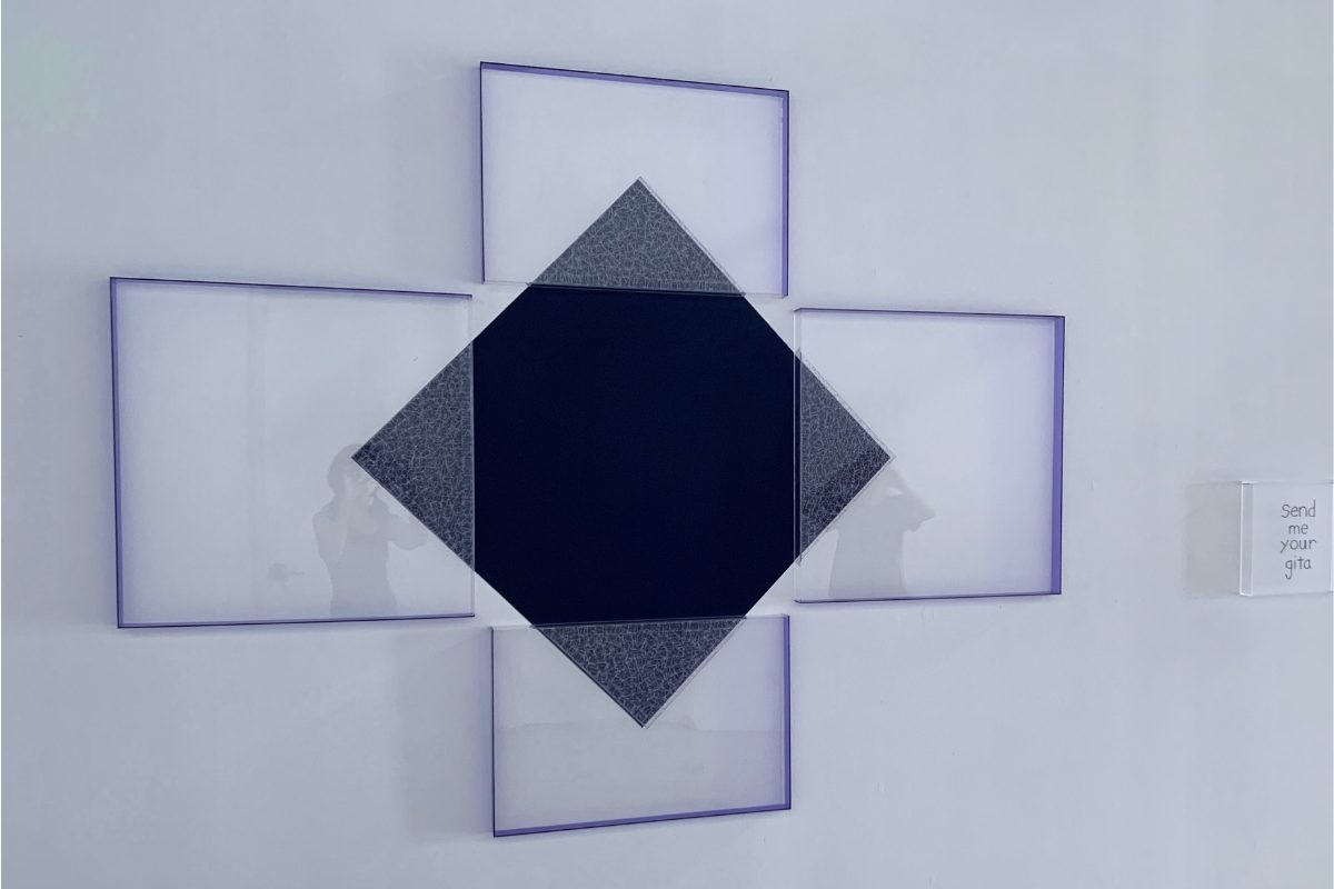 "Deborah Lynn Irmas, Send me your Gita, 2020. 68"" x 87"". House paint, acrylic, tape, twine, gel gloss, plexiglass. Courtesy of the artist."