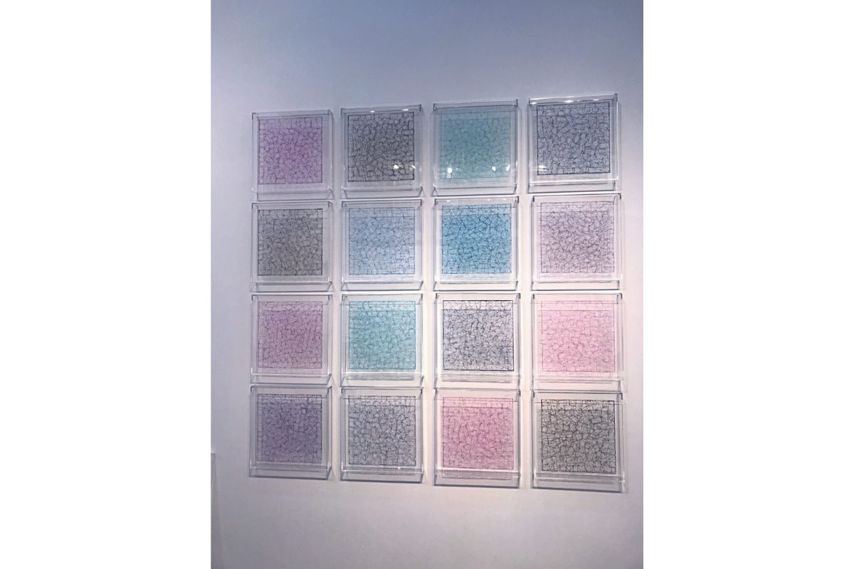 "Deborah Lynn Irmas, Kaleidoscope, 2018-19, 56"" x 56"". Tape, sumi ink, acrylic, gel gloss, plexiglass. Courtesy of the artist."