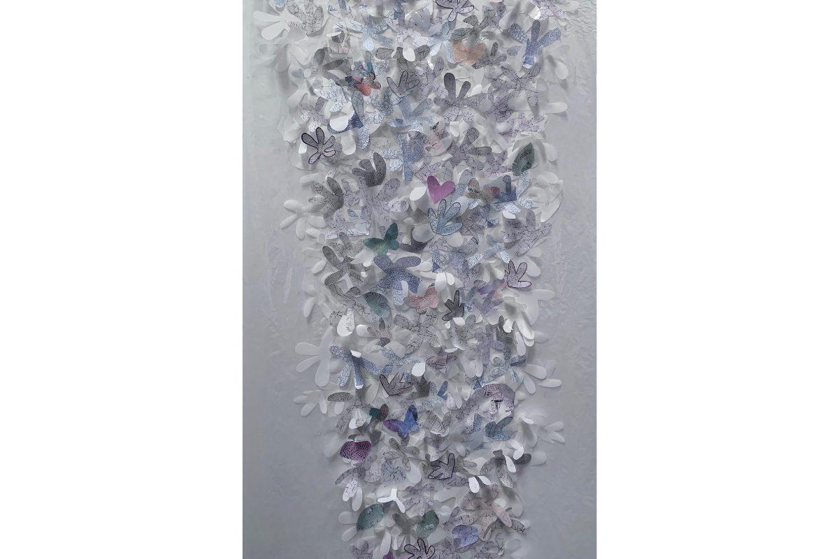 "Deborah Lynn Irmas, Hana, 2019. 41"" x 112"". Tape, maker, metallic paint, acrylic velium, Japanese paper with digital print. Courtesy of the artist."
